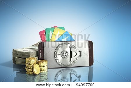 Mobile Banking Concept Mobile Phone With Dollar Stacks Coins And Credit Cards 3D Render On Blue Glas