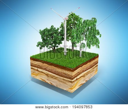 Concept Of Alternative Energy 3D Illustration Of Cross Section Of Ground With Grass On Blue