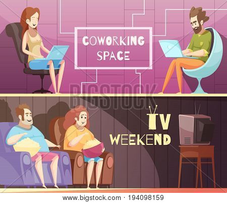 Sedentary lifestyle retro cartoon horizontal banners with sitting job and heavy people near tv isolated vector illustration