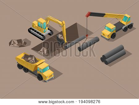 Yellow big digger builds roads gigging of ditch and set tubes by crane isometric vector illustration or icon