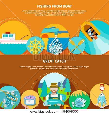 Fishing from boat banners set with water vessels and fish tackle flat images with editable text vector illustration