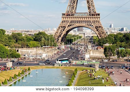 PARIS, FRANCE - JUNE 24, 2017: View of the Eiffel Tower from Place de Trocadero. The Eiffel Tower was constructed from 1887-1889 as the entrance to the 1889 World's Fair by engineer Gustave Eiffel.