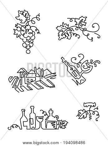 Simple Set of Wine Icons. Line art. Includes such Icons as grapes, bottle of wine with label, vineyard.