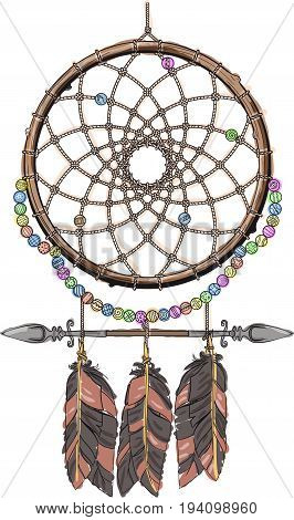 Indian mascot Dream catcher protecting the sleeper from evil spirits. Color
