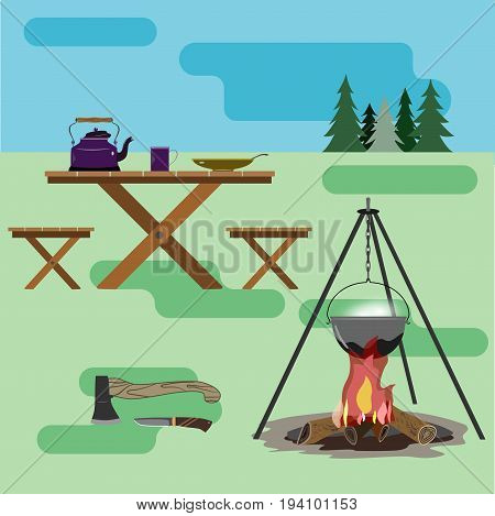 A healthy lifestyle in accordance with nature and law  A set of accessories for traveling to nature. For active and life-loving people. Cook dinner at the stake.