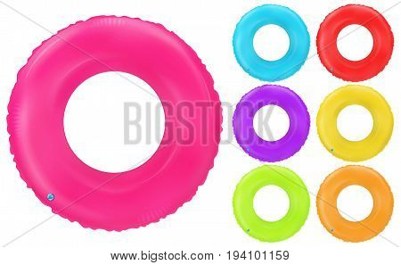 Swim rings set. Inflatable rubber toy. Lifebyou colorful vector collection. Realistic summertime illustration. Summer vacation or trip safety item. Top view swiming circle for ocean sea pool.
