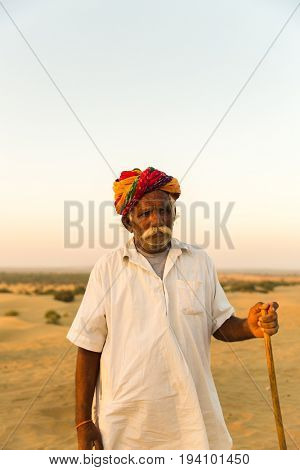 Rajasthani senior man in Jaisalmer Desert, India