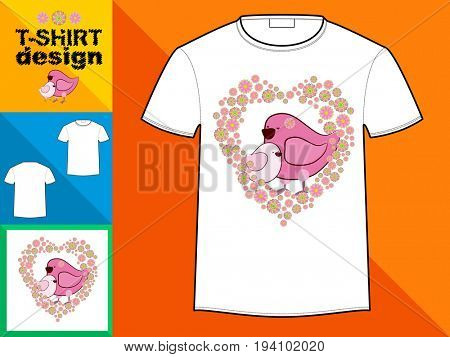 Template T-shirt with an trendy design: Two birds in a flower frame in the form of a heart.