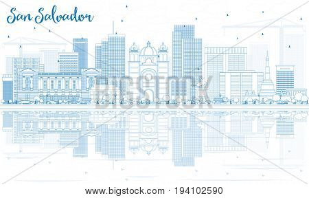 Outline San Salvador Skyline with Blue Buildings and Reflections. Business Travel and Tourism Concept with Modern Architecture. Image for Presentation Banner Placard and Web Site.