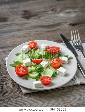 Appetizing greek salad with spices