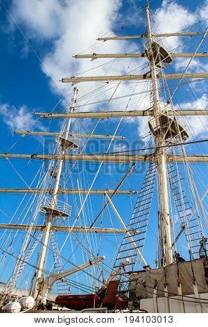 masts of sail vessel on sky background