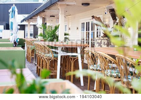 tables in street cafe