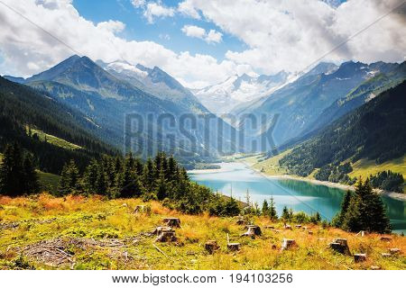 Awesome image of the Durlassboden reservoir. Location municipality of Gerlos in Zillertal valley, Austrian states of Tyrol and Salzburg. Reichenspitz range, High Tauern National Park. Beauty world.