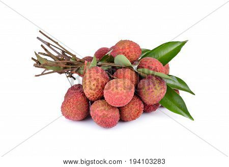 bunch of fresh Lychees with leaves and stem on white background