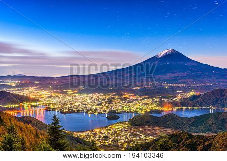 Mt. Fuji, Japan over lake Kawaguchi on an autumn morning.