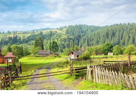 Beautiful sunny morning  after rain in the  village, Vorokhta, Carpathian Mountains, Ukraine.