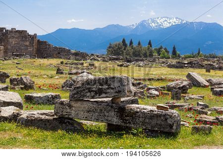 The ruins of the Macedonian cities, items, walls, houses, columns