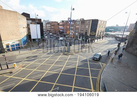 Birmingham, UK - 6 November 2016: High Angle View Of City Road Junction In Birmingham