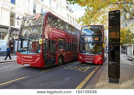 Birmingham, UK - 6 November 2016: Busy Bus Stop In Birmingham City Centre