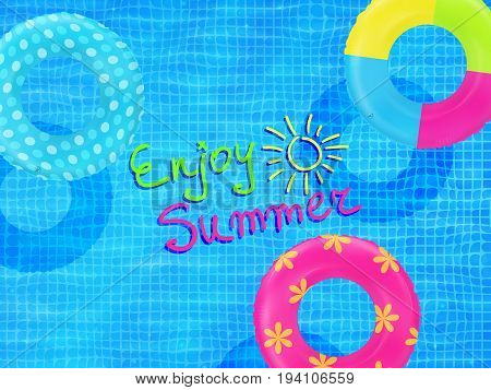 Swim rings on swimming pool water background. Inflatable rubber toy. Realistic summertime illustration. Summer vacation or trip safety item. Top view swimming circles.