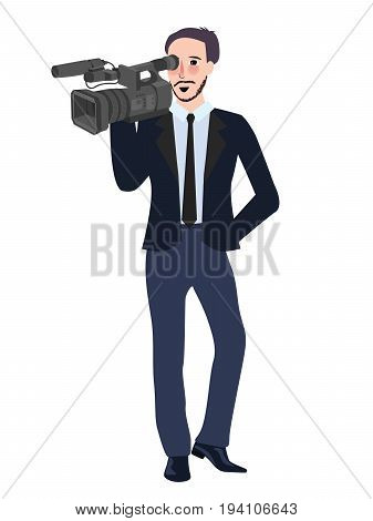 cameraman profesional reporter man holding video camera wearing suite and tie vector