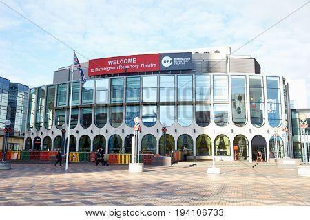 Birmingham, UK - 6 November 2016: Exterior Of The Birmingham Repertory Theatre Building