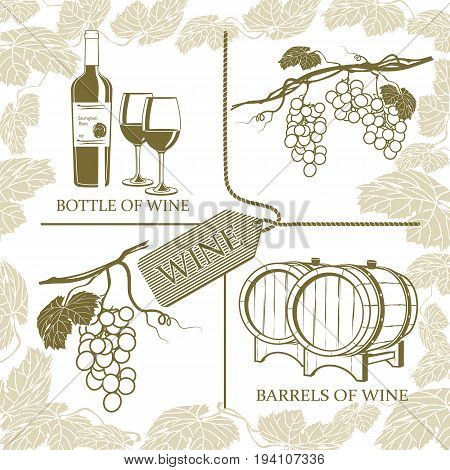 Set symbols on the theme of grapes white wine and winemaking on a white background