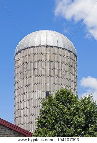 A silo tower stands against a cloudy blue sky on a Midwestern farm.