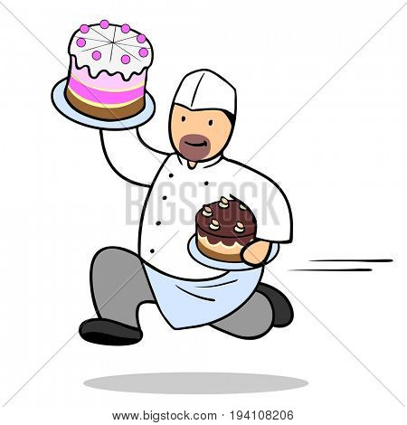 Cartoon of confectioner man running with cake as cake shop delivery service