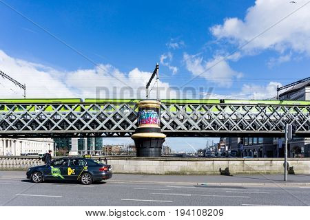 DUBLIN, IRELAND - March 31, 2017: Dublin City Center and river Liffey,Ireland