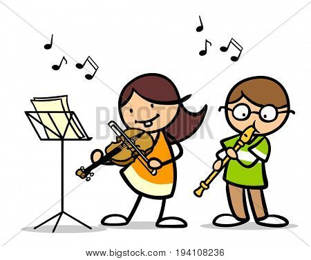 Cartoon children playing musical instrument as music school concept