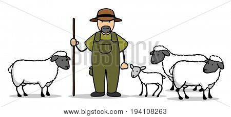 Cartoon of sheperd with flock of sheep and lamb