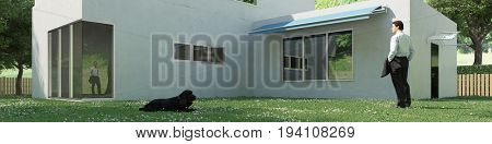 Man with dog outside house in bauhaus architecture style (3D Rendering)
