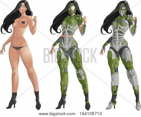 Beautiful game concept art girl in armor