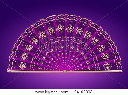 Purple folding fan Japanese style for desing