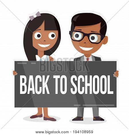 Back to school. Schoolboy and schoolgirl with a sign board. Funny characters.