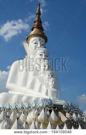 Big white Buddha statue at Pha Sorn Keaw Temple Phetchabun Thailand.