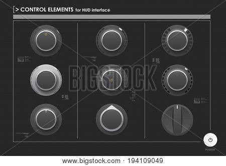 set of control elements or audio equipment for web and app. Set of knobs.