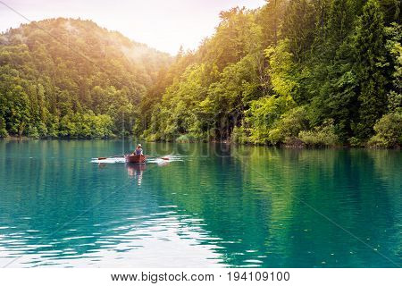 ride in a rowboat in Plitvice national lakes park