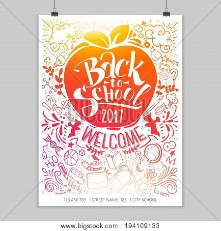 Vertical Back to school poster with doodles. Bright lettering for education background. Sketches and hand written text. Childrens styled drawing. Vector illustartion.