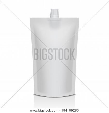 White plastic doypack stand up pouch with spout. Flexible packaging mock up for food or drink for your design
