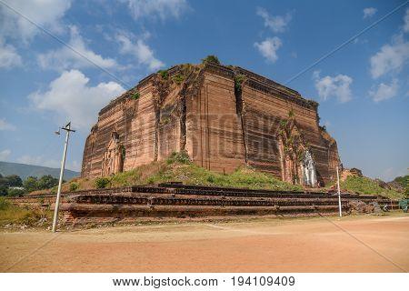 The Mingun Pahtodawgyi or Ruined Mingun Pagoda is an incomplete monument stupa near Mandalay Sagaing Region Myanmar poster