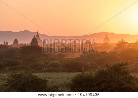 Beautiful landscape of ancient pagoda and temple in Bagan archaeological site at sunset famous destination in Mandalay Region Myanmar (Burma) and Southeast Asia