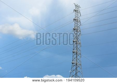 High voltage towers with rainstorms, power, voltage, station