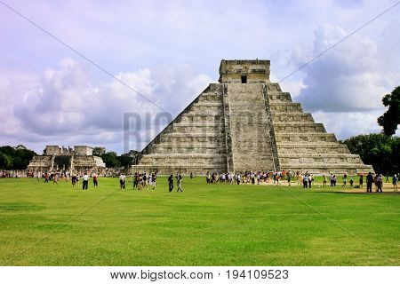 Temple of Kukulkan mayan Pyramid in Chichen Itza Site Yucatan Mexico. One of the new 7 wonders of the world.