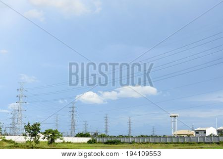 Factory electrical generating High voltage towers, power, voltage, station
