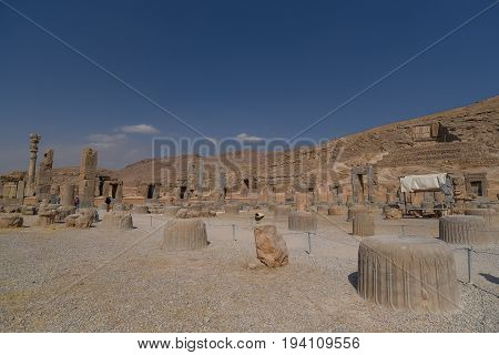 Ruins column of Persepolis (UNESCO World heritage sites) ancient Persian city and the ceremonial capital of the Achaemenid Empire situated 60 km northeast of Shiraz city in Fars Province Iran