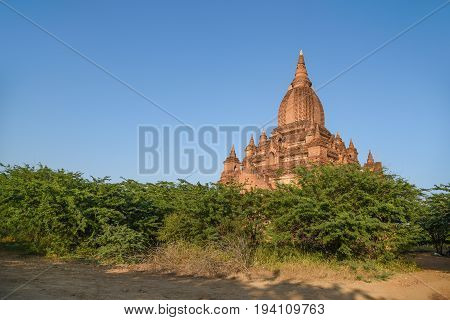 beautiful ancient pagoda against clear sky in Bagan archaeological site famous destination in Mandalay Region Myanmar (Burma) and Southeast Asia
