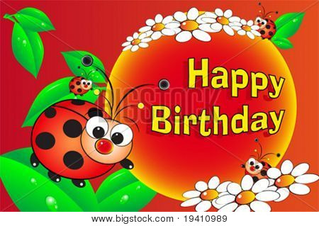 Ladybug and flowers - Birthday Card for kids
