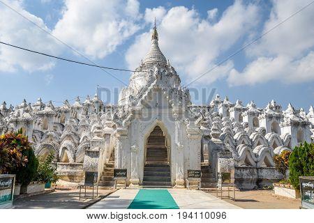 MINGUN MYANMAR - DECEMBER 19 2016 : Entrance gate of Hsinbyume (Myatheindan Pagoda) the large white pagoda on the northern side of Mingun in Sagaing Region near Mandalay Myanmar (Burma).